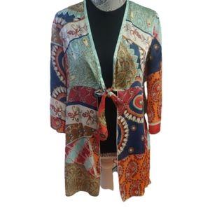Cabi boho tie front patchwork kimono